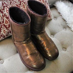UGG Metallic Gold W/ Studded Heel Boots